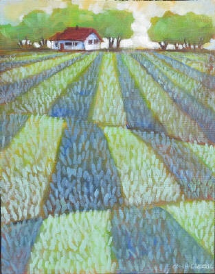 Connie Geerts,  At the Edge of the Hayfield,  Acrylic on Canvas  14 X 11 in. $375 #CanadianArt