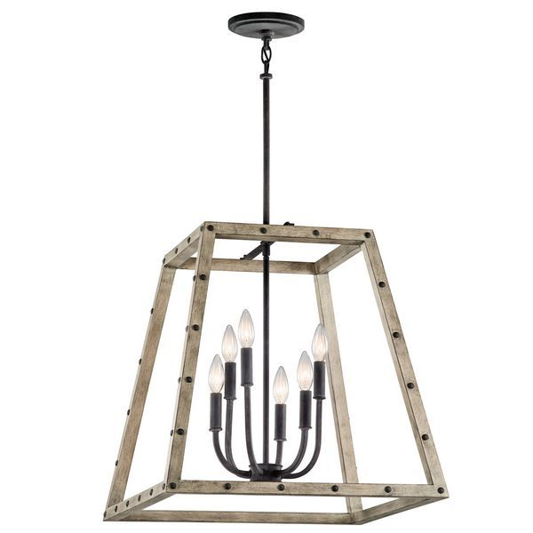 Discover the industrial feel of the Basford Distressed Antique Gray 6 light pendant from Kichler Lighting  sc 1 st  Pinterest & 49 best Rustic images on Pinterest   Pendants Ceiling lights and ... azcodes.com