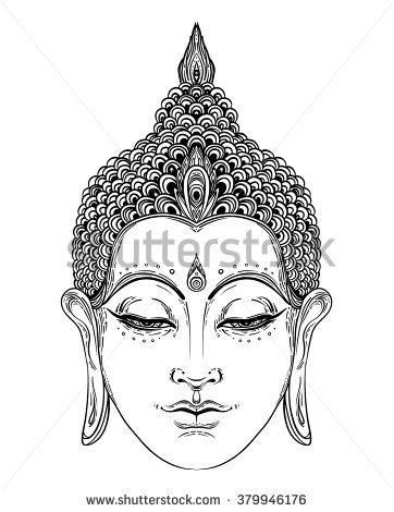 stock-vector-head-of-buddha-vector-illustration-isolated-on-white-beautifully-detailed-face-serene-vintage-379946176.jpg (362×470)