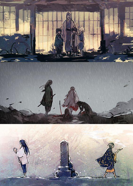 GINTAMA, Fanart, Sakata Gintoki (Shiroyasha), Katsura Kotaro, Takasugi Shinsuke, Yoshida Shouyou