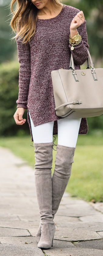 fall outfit ideas / knit sweater + OTK boots
