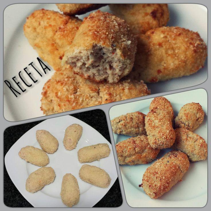 Croquetas al horno de atun  Ingredientes 1 lata de atún al natural  4 barritas de surimi (palos de cangrejo)  1 cebolla pequeña 1 clara de huevo  Sal al gusto  Almendra molida para el rebozado