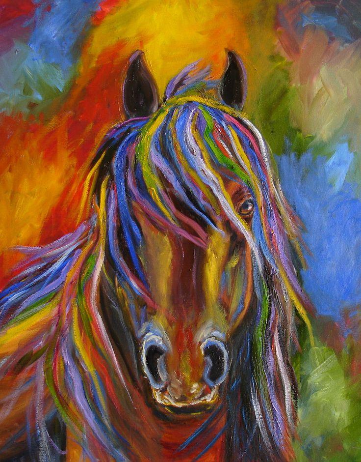 Equine Artists International - Contemporary Fine Art International: MJ ZORAD ABSTRACT HORSE ORIGINAL OIL PAINTING 16 X 20