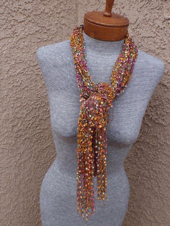 Trellis scarf ribbon yarn scarf extra long scarf multi