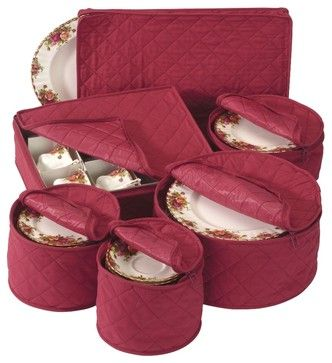Quilted China Keepers 6pc. Starter Set -Crimson contemporary-dinnerware-and-stemware-storage