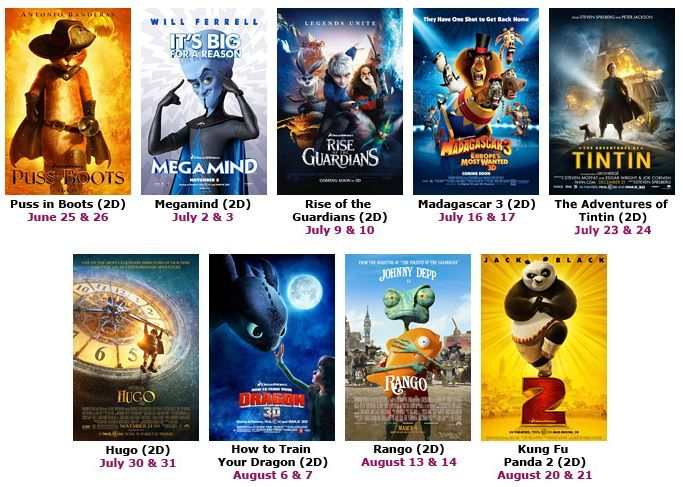 Bow-Tie Cinemas at Reston Town Center hosts Free Kids Summer Film Series every Tuesday and Wednesday at 10am...bring the kids and enjoy age-appropriate movies such as Puss in Boots, Madagascar 3, How To Train Your Dragon 3D, and Kung Fu Panda 2!
