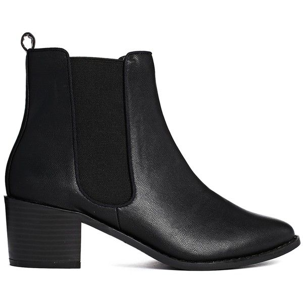 ASOS ROAR Chelsea Ankle Boots (135 RON) ❤ liked on Polyvore featuring shoes, boots, ankle booties, black, plus size, black chelsea ankle boots, asos, black boots, asos boots and black booties