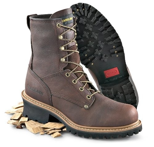 This rugged-looking Carolina  logger boot has a 100% full grain leather upper for durability and sturdy protection. Features repairable welt construction for long life. Permanent cambrelle-lined padded insole for moisture wicking and comfort. 1-pc. rubber lug outsole is long-lasting and delivers solid traction on a variety of surfaces. Size: 9, Toe: Soft, Color: Brown, Material: Leather upper / rubber outsole, Lining: Cambrelle, Application: Work