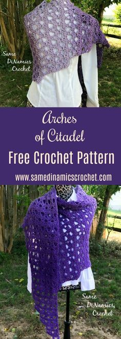 Arches of Citadel Shawl Free Crochet Pattern The Arches of Citadel Shawl is made using an asymmetrical design making the piece eye-catching and trendy. The design also features arches throughout the piece which is highlighted by the ombre yarn. It's wide enough to provide warmth on a chilly night while remaining stylish. Pin it in …