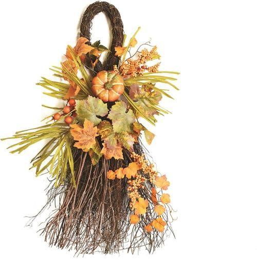 """26"""""""" Autumn Harvest Decorative Artificial Pumpkins Berries and Leaves Teardrop Door Swag - Unlit"""