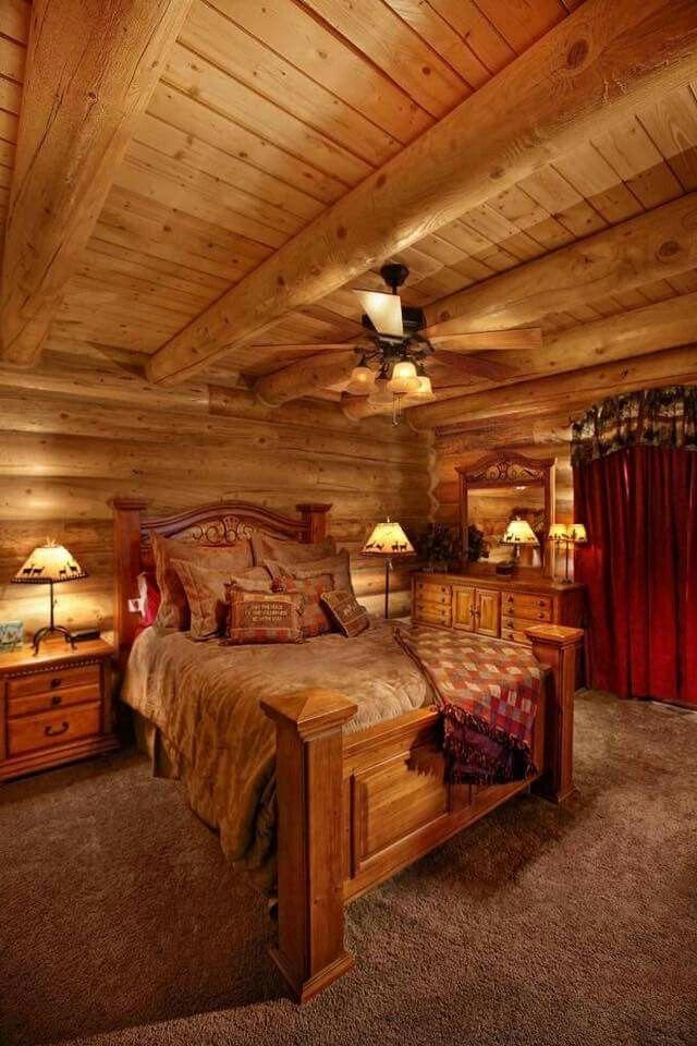 31 best maine pine log homes images on pinterest log for Rustic cottage bedroom