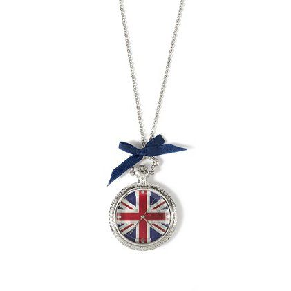 Union Jack Silver Pocket Watch Pendant Necklace – Claire's