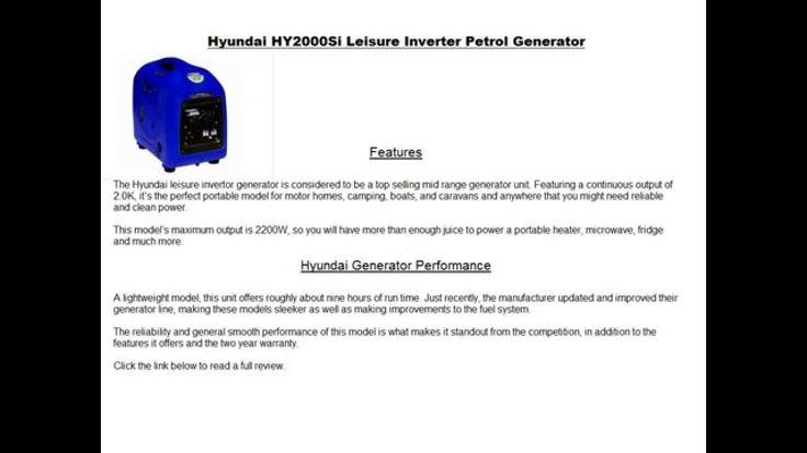 Hyundai HY2000Si Leisure Inverter Petrol Generator