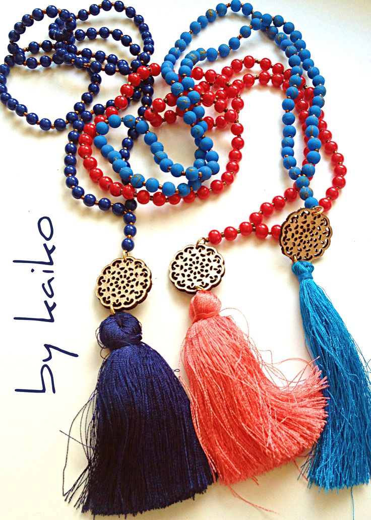 Long Beaded Tassel Necklace,Handmade necklace, Pendant Tassel Necklace,Mala Necklace, Long Boho Beaded Necklace by bykaiko on Etsy