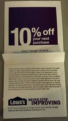 Lowes Home Improvement 10% OFF Coupon Exp 12/15/13 get up to $500 off