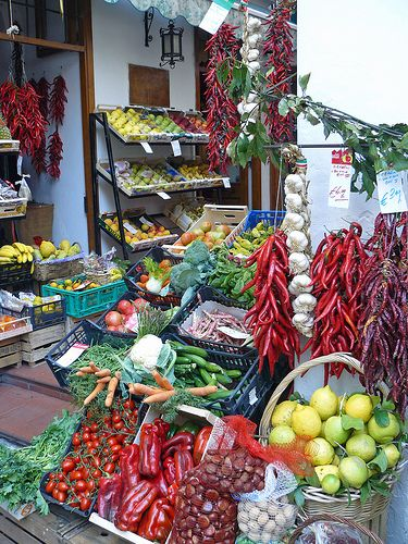 Gorgeous fresh produce at the market in Amalfi , Italy