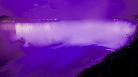 """<p>The falls were lit up in purple in honor of Queen Elizabeth's 90th birthday, but it took on a new meaning after the""""Raspberry Beret"""" singer passed. """"Last night's purple Niagara Falls meant different things to different people & that is okay,"""" the @NiagaraParks Twitter handle posted. <i>(Photo: Twitter)</i></p>"""