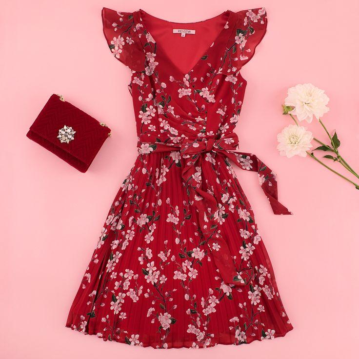 Cehrry Sangria Dress | Mia Rosa Bag | Flatlay