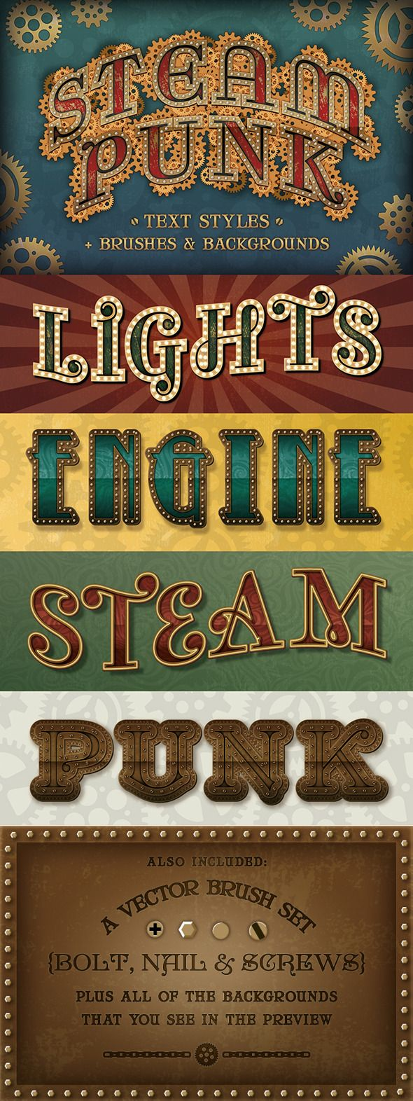 Steam Punk Text Styles + Brushes & Backgrounds — Vector EPS #circus #circus text • Available here → https://graphicriver.net/item/steam-punk-text-styles-brushes-backgrounds/12054034?ref=pxcr