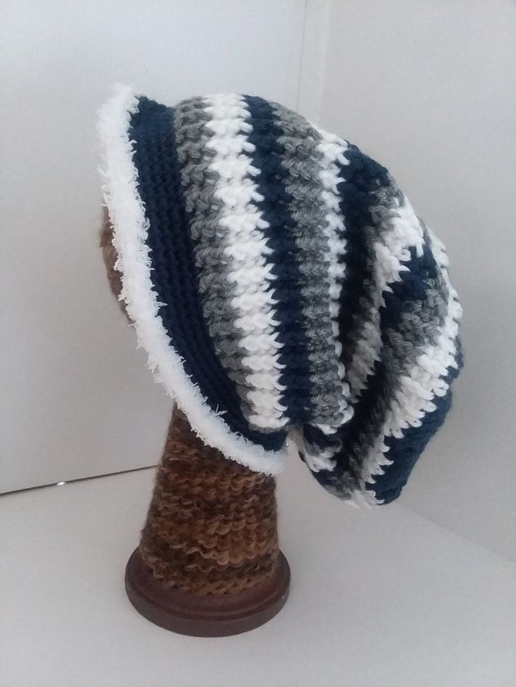 Navy White and Gray Crochet Beanie Hat with Fur
