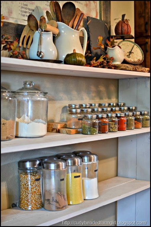 I like the spice jar, tea jar in kitchen on shelves idea   spice jars goes perfectly with cookie jars