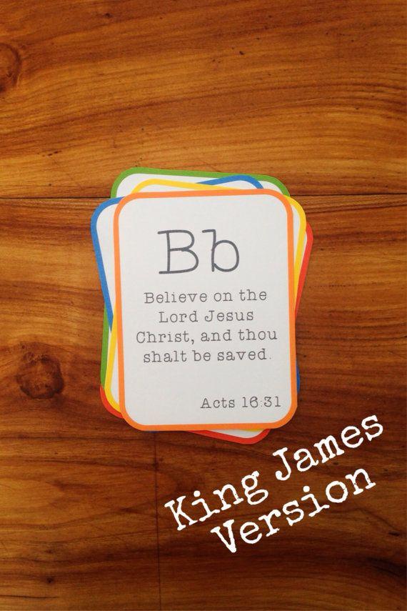 KJV Alphabet Bible Verse Flashcard Set (King James Version) - Printable PDF