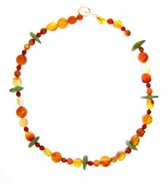 Handmade gemstone jewelry. Multi gemstone necklace, multi colored, vibrant with Sterling Silver toggle clasp. High quality fine jewelry. Orange green red rust white. Maria Tepper Jewelry