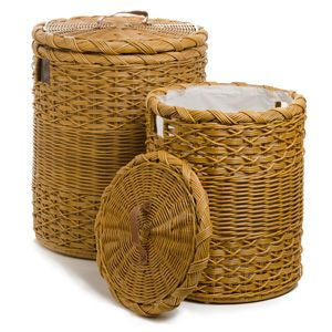 Beautiful round hamper in two colors and two sizes. Dirty laundry never looked so good.