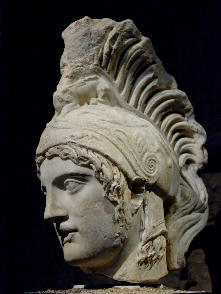 The head of Ares/Mars. Roman copy (early 3rd cent. CE) after a lost bronze original by the Greek sculptor Alcamenes (ca. 420 BCE). Now in the Capitoline Museum.