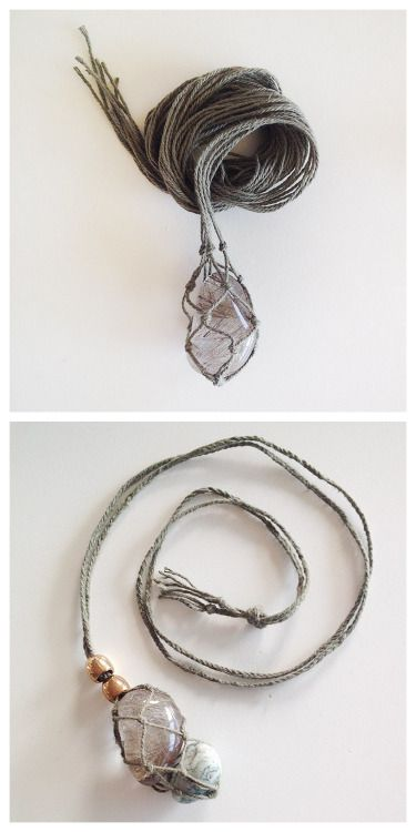DIY Macrame Gem Necklace Tutorial from sustainability in style. This is similar to making a macrame plant hanger for the gems/stones and then finishing with a 4 strand braid for the rest of the neckla