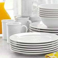Bistro 24-Piece Dinnerware Set | Sur La Table - Set of six for $99.96 and the company has wonderful lines of inexpensive white platters in sophisticated shapes to make presenting your food all the prettier.