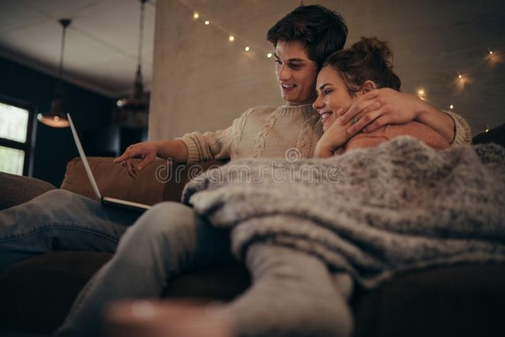 Download Love Couple In Hygge House With Laptop Stock Image - Image of affectionate, people: 105806615