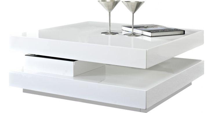 Table Basse Destock Meubles, achat Table basse carrée plateau pivotant blanche prix promo Destock Meubles 244,00 € TTC