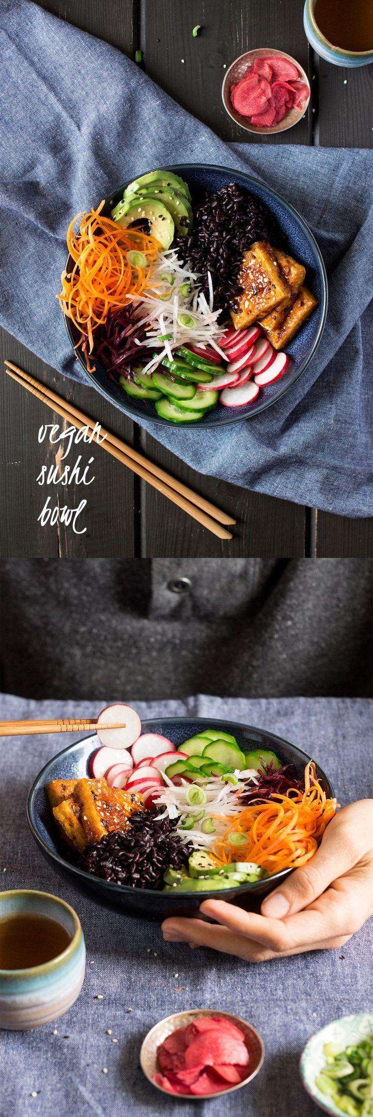 This #vegan and #glutenfree #sushi #bowl makes for a great #lunch, #healthy and #wellbalanced!  #recipe #recipes #vegetarian #salad #tofu