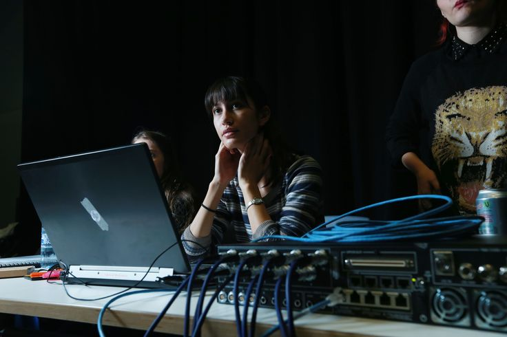 Students working in the Black Box. Photo by Britta Campion.
