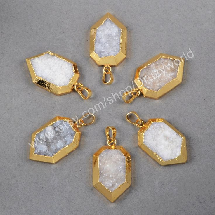 Wholesale Unique Gold Plated Heptagon Natural Agate Druzy Pendant Bead Gemstone Jewelry Druzy Jewelry Opal White Pendant Druzy Jewelry G0580 by Druzyworld on Etsy