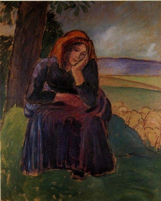 Seated Shepherdess. (1892). Камиль Писсарро