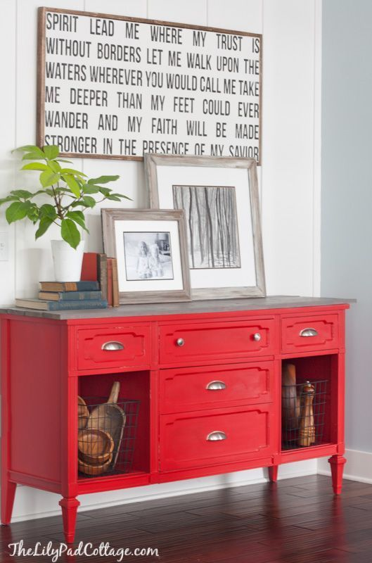 Red Painted Buffet Table by The Lilypad Cottage