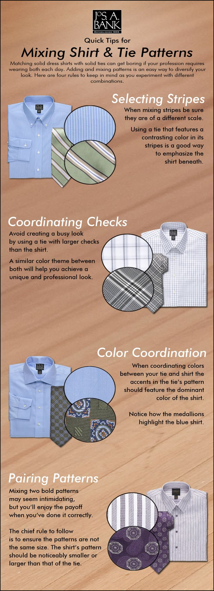 Is your wardrobe more shirt & tie than suit & tie? Here are a few tips on common shirt and tie pattern combinations.