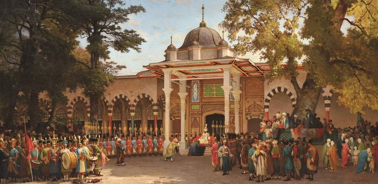 Germain Fabius Brest:   (1823-1900) In his works he depicted live, colorful, wooden house groups, shaded tree clusters, white minarets and domed windows, square fountains, ethnic dressed people.