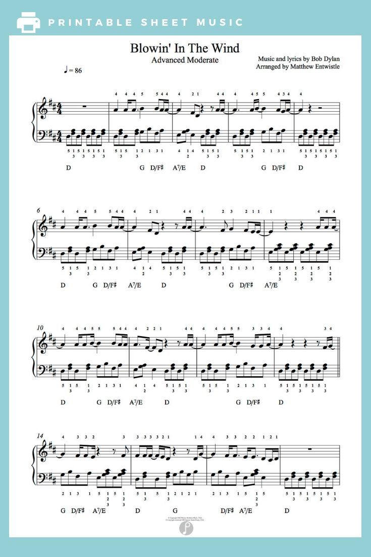 Blowing In The Wind By Bob Dylan Piano Sheet Music Advanced