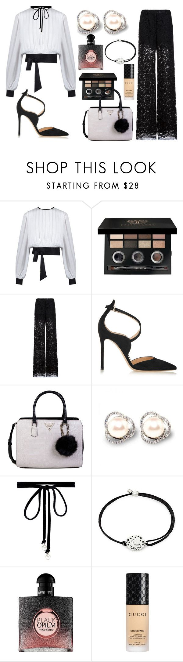 """""""I'm back mon amour"""" by lujzazsu ❤ liked on Polyvore featuring Bobbi Brown Cosmetics, ADAM, Gianvito Rossi, GUESS, Joomi Lim, Alex and Ani, Yves Saint Laurent, Gucci, blackandwhite and officialwoman"""