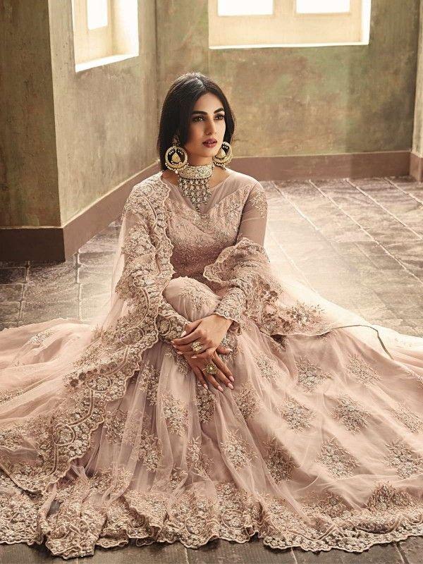 da97fe0e5f Peach Heavily Embroidered Net Anarkali Suit in 2019   Latest ...