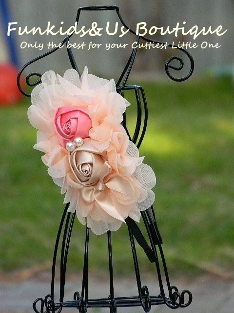 Cream  Rose Flower headband Flower Girl by FunkidsandUsBoutique, $6.84