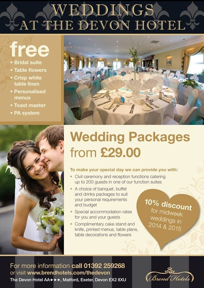 Weddings at The Devon Hotel, Exeter, 01392 259268