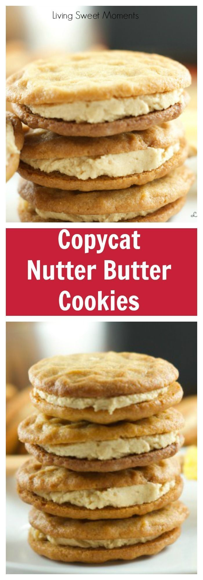 Copycat Nutter Butter Cookies - these homemade peanut butter cookies filled with delicious creamy peanut frosting are more delicious than the original kind. More copycat cookie recipes at http://livingsweetmoments.com via @Livingsmoments