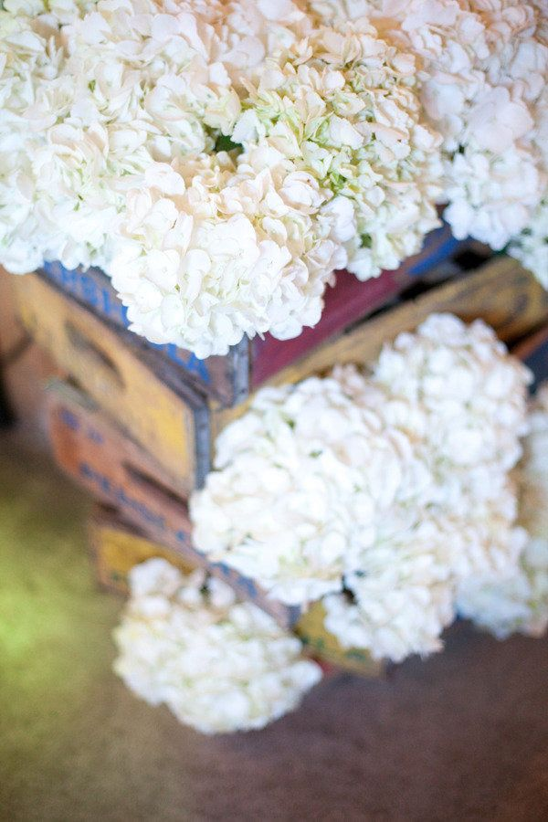 This is a great example of fresh flowers meeting old time charm. These rustic boxes pair beautifully with the white hydrangea! Shop hydrangea year-round at GrowersBox.com!Fresh Flower