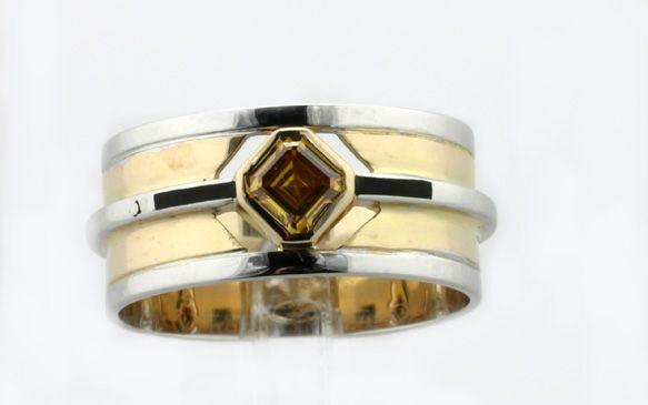 A Cognac Emerald-cut Diamond on a Contemporary Creation