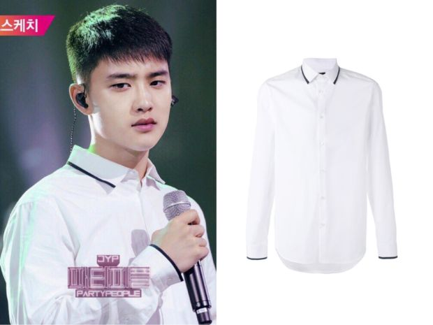 EXO D.O (디오) wore white shirt at JYP Party People It is the KENZO contrast-tipped shirt. Get them HERE for $185 Available from : Farfetch – $185 Related Posts171013 iKon Yunghyeong Wear Thom Browne Shirt on Instagram171011 BLACKPINK Lisa Wear Eyeye...