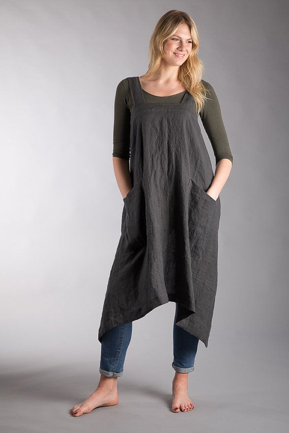 100% Linen Japanese Apron Dress Charcoal Grey Washed Linen Summer Pinafore Long Apron Dark Grey Two Pockets Natural Flax Apron Crossback
